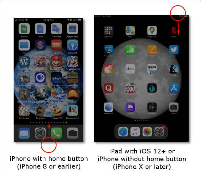 Swipe up from the bottom or down from the top right to open Control Center on your iPhone or iPad.