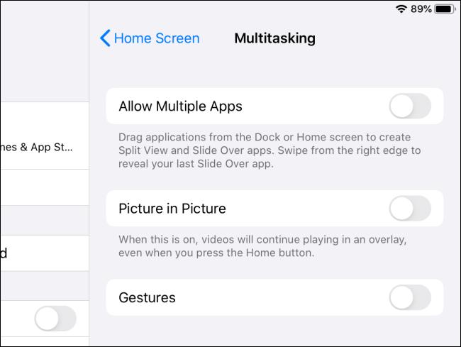 iPadOS multitasking features disabled