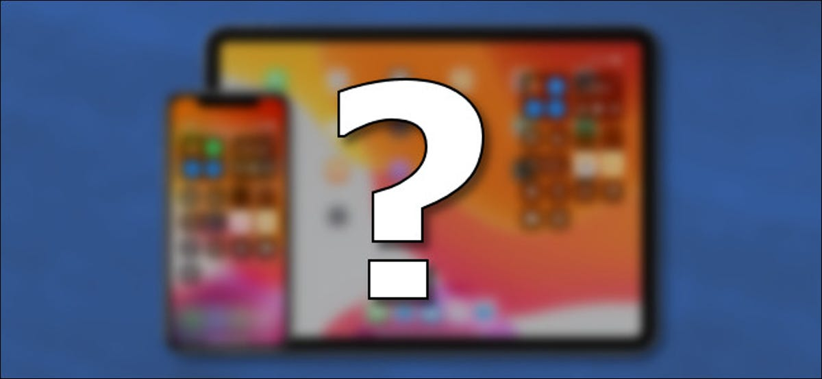 A question mark in front of an iPhone and iPad.