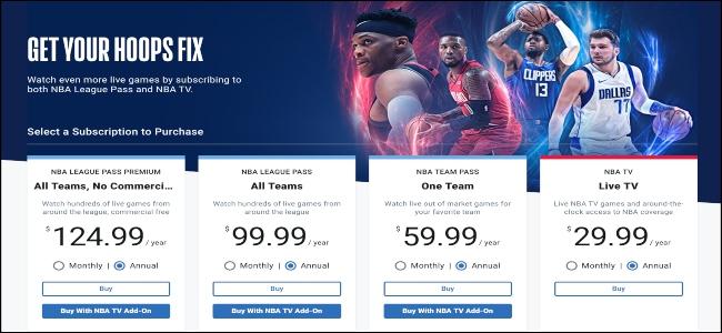 NBA League Pass home page.