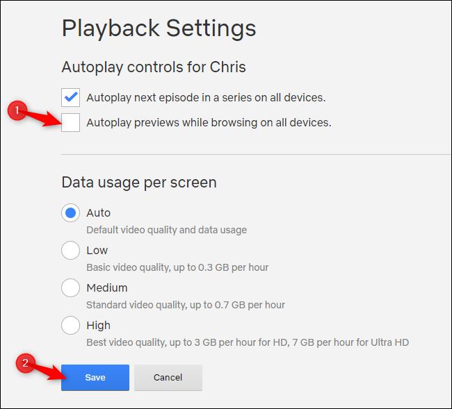 Deshabilitar las vistas previas de reproducción automática en Netflix