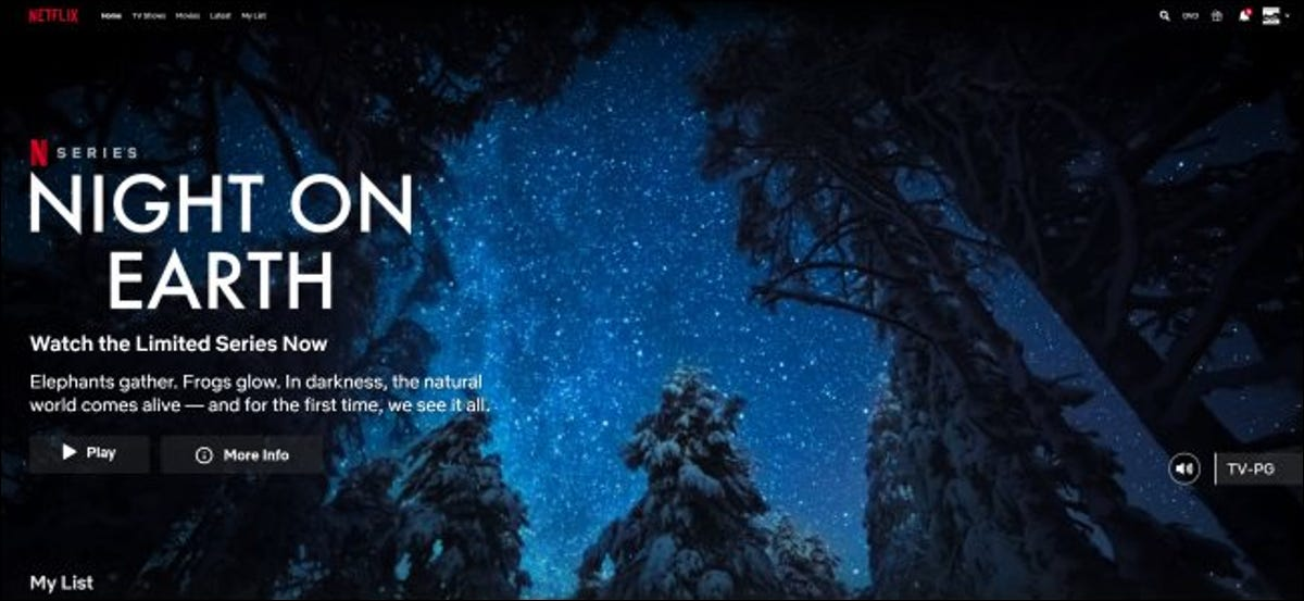 Netflix automatically playing a preview for Night on Earth while browsing.