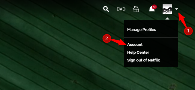 Accessing Netflix's account options