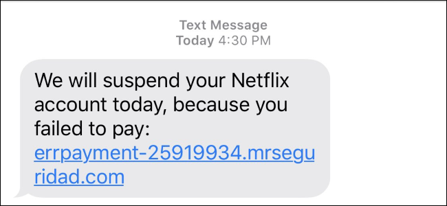 Mensaje de texto de estafa de Netflix