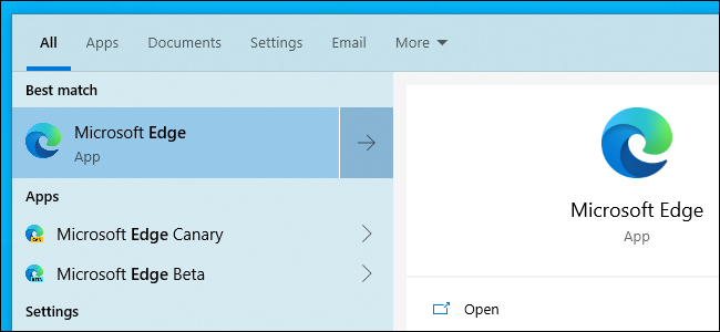 Opening the new Chromium-based Microsoft Edge from the Start menu.