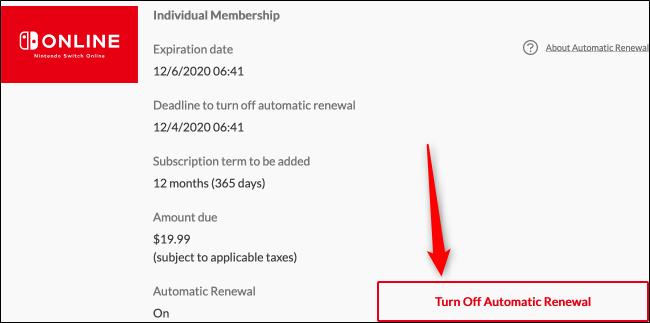 Turn Off Automatic Renewal (Web)