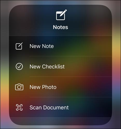 The Notes app menu.