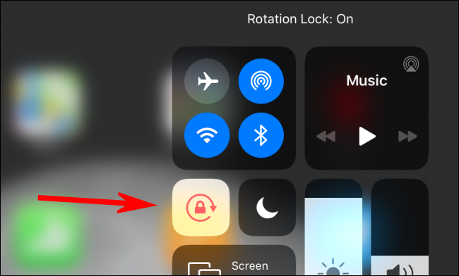 The Orientation Lock icon is a different color to show it's enabled on an iPad.