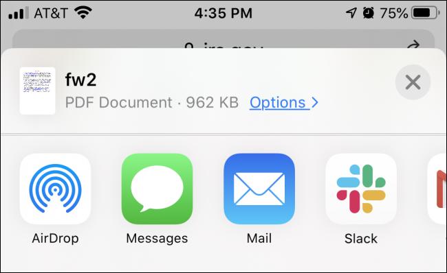 Preparing to save a PDF file