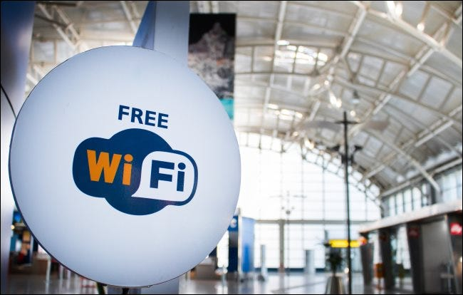 A free Wi-Fi sign in an airport.