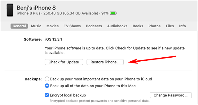 "Click ""Restore iPhone"" in iTunes."