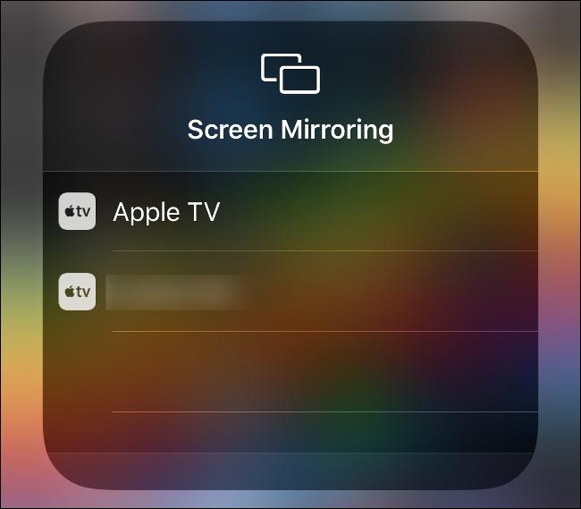 "The ""Screen Mirroring"" menu in Control Center."