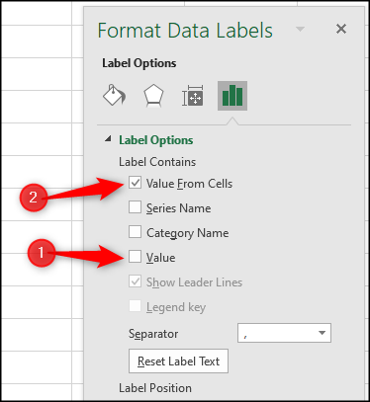 Show data label values from cells