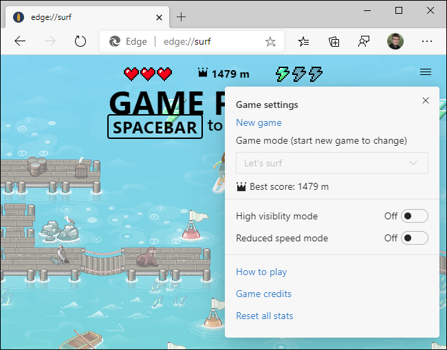 Game settings in Edge's secret surfing game