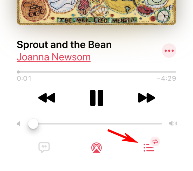 Tapping on the Up Next icon to turn off repeat in Apple Music app