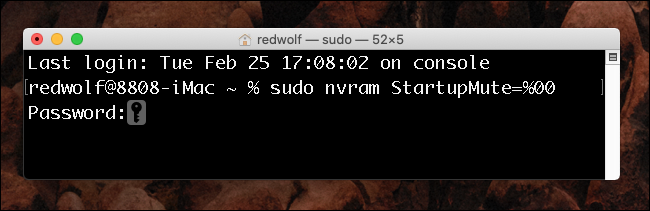 Mac OS X Terminal Window - Turn on Startup Chime