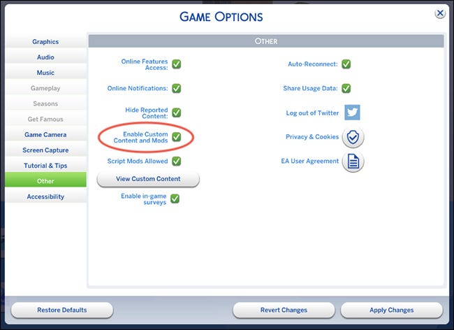 The Sims 4 Mods Enable