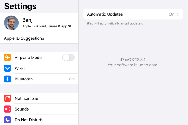 The software up to date message in iPadOS.