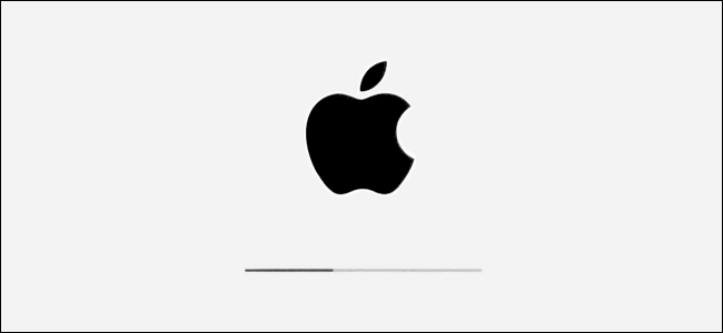 The Apple logo and installation progress bar in iPadOS.