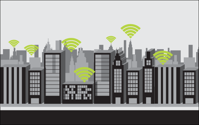 Wi-Fi icons superimposed over a cityscape.