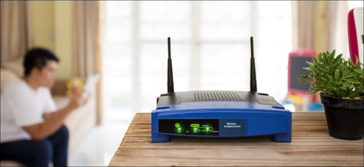 A wireless router on a table.