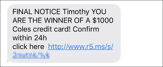 A text message scam using the author's first name.