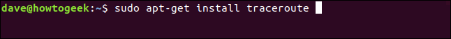 "The ""sudo apt-get install traceroute"" command in a terminal window."