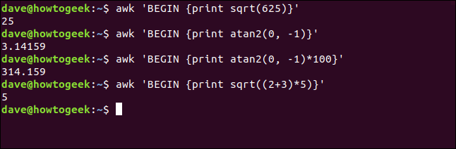 "The ""awk 'BEGIN { print sqrt(625)}'"" command in a terminal window."