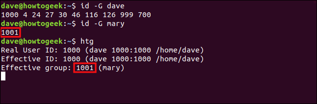 """The """"id -G dave,"""" """"id -G mary,"""" and """"htg"""" commands in a terminal window."""