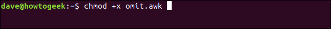 "The ""chmod +x omit.awk"" command in a terminal window."