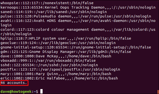 "Output from the ""./omit.awk /etc/passwd"" in a terminal window."