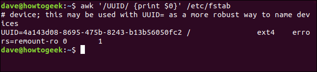 "The ""awk '/UUID/ {print $0}' /etc/fstab"" command in a terminal window."