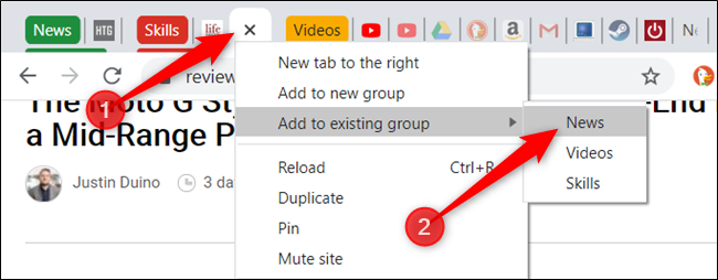 Add tabs to an already existing group just as quickly.