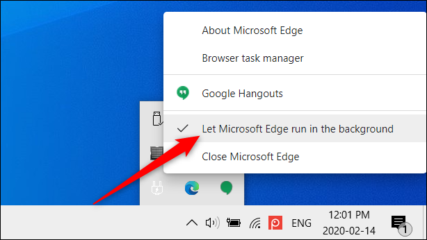 """Click on """"Let Microsoft Edge run in the background"""" to disable this feature."""