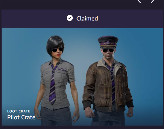 "A ""Claimed"" loot page for a ""Pilot Crate,"" featuring one female and one male game character."