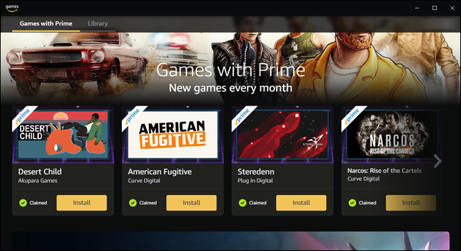 "The ""Games with Prime"" menu."