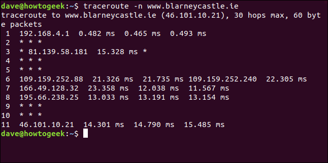 """The """"traceroute -n blarneycastle.ie"""" command in a terminal window."""