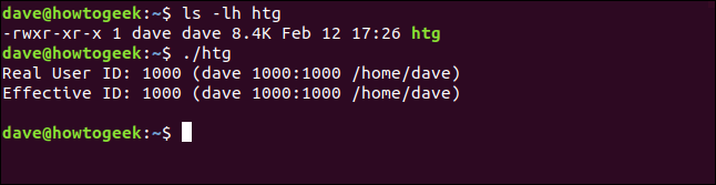 """The """"ls -lh htg"""" and """"./htg"""" commands in a terminal window."""