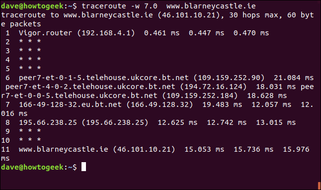 "The ""traceroute -w 7.0 blarneycastle.ie"" command in a terminal window."