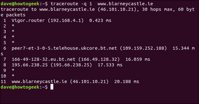 "The ""traceroute -q 1 blarneycastle.ie"" command in a terminal window."