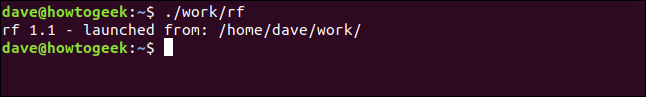 """The """"./work/rf"""" command in a terminal window."""