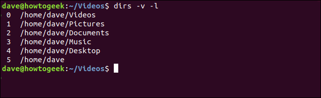 """The """"dirs -v -l"""" command in a terminal window."""