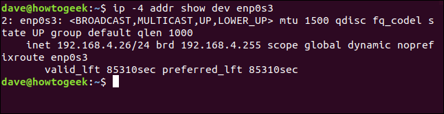 """The """"ip -4 addr show dev enp0s3"""" command in a terminal window."""