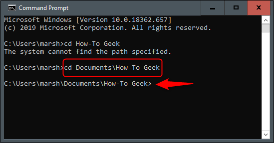 """The """"cd Documents\How-To Geek"""" command in Command Prompt."""