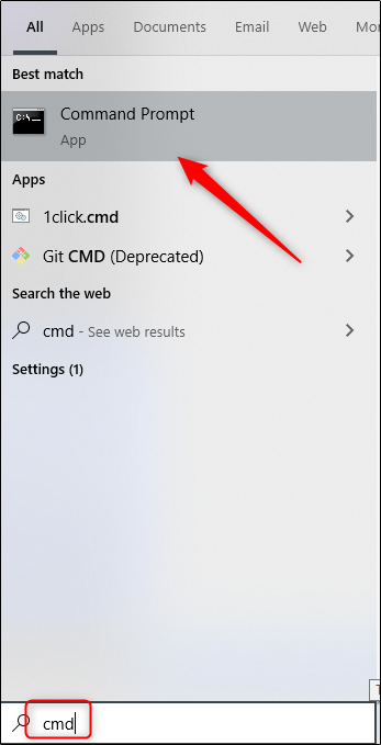 """Click """"Command Prompt"""" in the Windows 10 search results."""