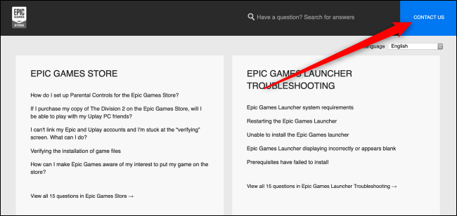 Epic Games Store Help Page