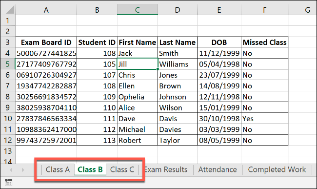 """An Excel workbook with similar worksheets of """"Class A,"""" Class B,"""" and """"Class C."""""""