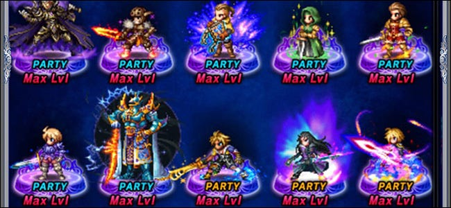 10 characters in a role-playing Gacha game.