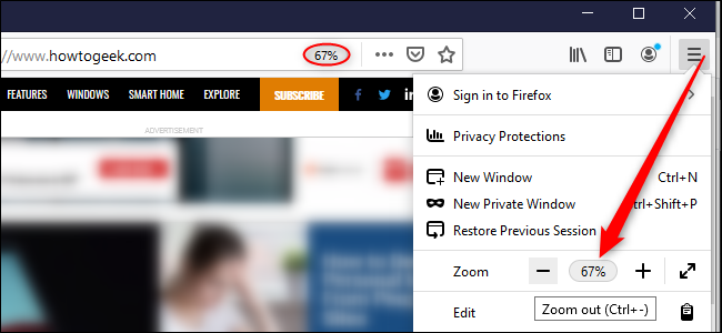 The Firefox option for per-website zoom.