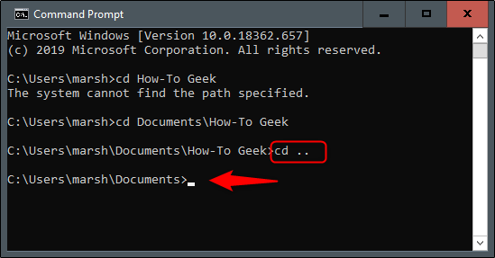 """The """"cd . ."""" command in Command Prompt."""